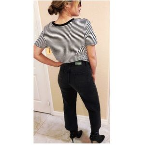 Black High Waisted jeans cropped leg